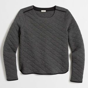 J. Crew Gray Quilted Cropped Sweatshirt